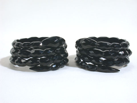 Matching Pair of Whitby Jet Snake Bracelets
