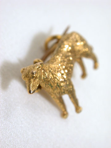 Art Deco Gold Dog Brooch