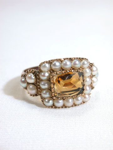 Georgian Citrine Natural Pearl Ring
