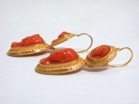 Coral Cameo Day Night Etruscan Earrings