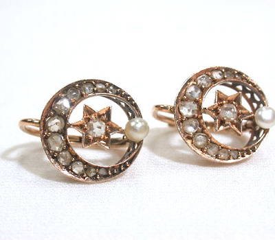 Moon & Stars - Antique Diamond Earrings