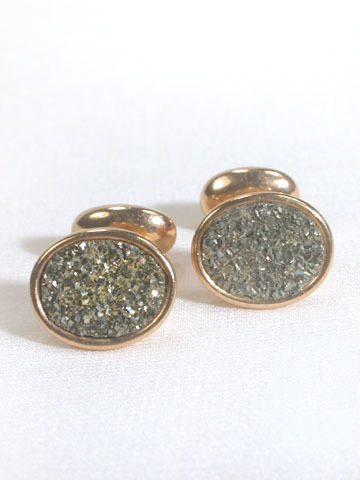 Pyrite & Rose Gold Cufflinks c. 1890