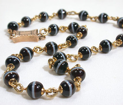 Bountiful Banded Agate Bead Necklace c. 1860