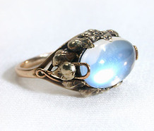 Arts & Crafts Lightning Moonstone Ring