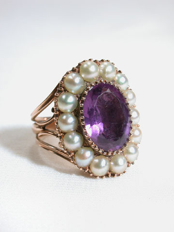Regal Amethyst  & Pearl Georgian Ring