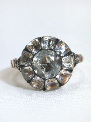 Superb Paste Cluster Ring c. 1760