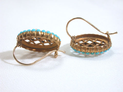 Lattice Turquoise Pearl Earrings