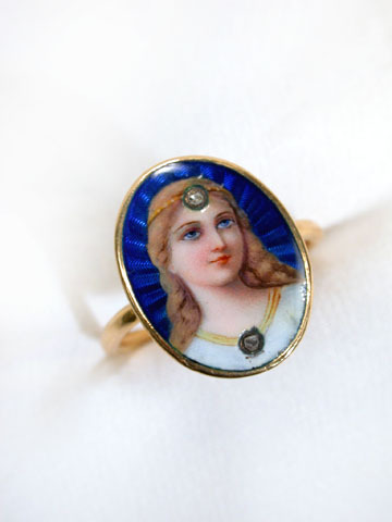 Enamel Female Portrait Ring