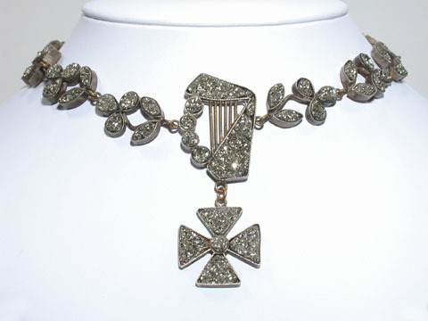 Celtic Music - Pyrite Harp & Cross Necklace