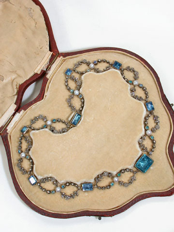 Georgian Revival: 19th Century Aquamarine & Diamond Garland Choker