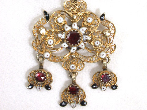 Starburst of Enamel & Garnets Georgian Pendant