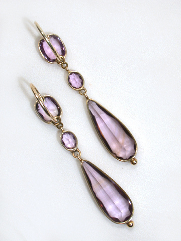 Amethyst Drop Georgian Antique Earrings
