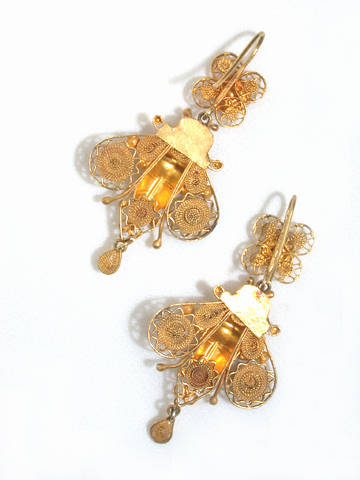 Antique Victorian Gold Moth Novelty Earrings
