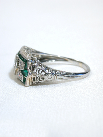 Elegance Unfolded: Edwardian Diamond & Emerald Ring