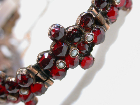 Bohemian Garnet Pearl Bangle