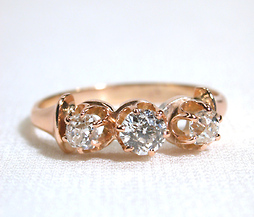 Victorian Three of Diamonds Ring