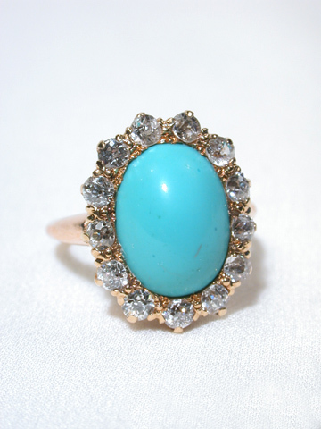 Lavish Turquoise and Diamond Ring