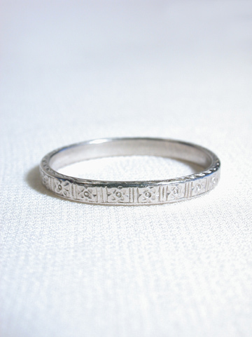 Art Deco Engraved Platinum Band