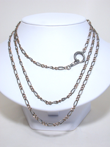 Victorian Aesthetic Period Niello Long Chain