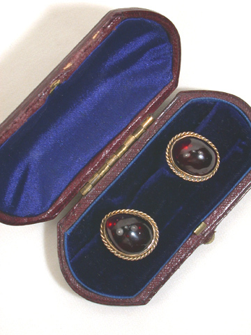 Victorian Garnet Cufflink Buttons in Box