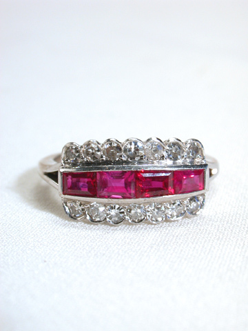 Art Deco Antique Ruby & Diamond Ring