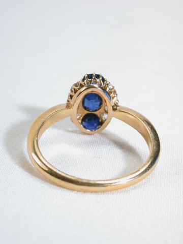 Column of Blue: Sapphire & Diamond Antique Ring