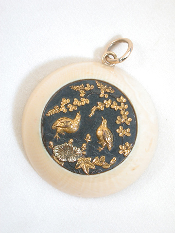 Antique Shakudo & Ivory Pendant