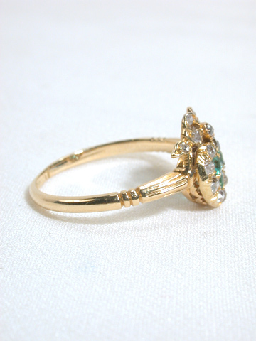 Emerald Diamond Heart & Bow Antique Engagement Ring