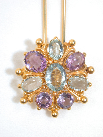 Aquamarine & Amethyst Hair Pin