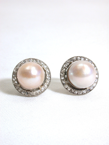 Baroque Pearl Rose Diamond Earrings