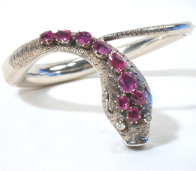 Victorian Ruby Diamond Silver Snake Bangle