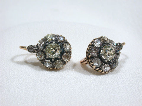 Magnificent Victorian Diamond Cluster Earrings