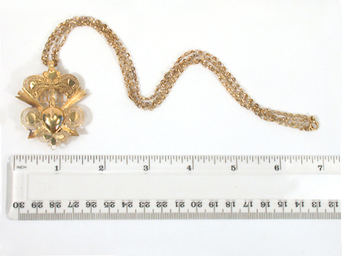 Hearts Aflame - Early Gold Locket Pendant & Chain