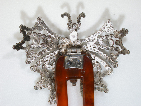 Antique Cut Steel Butterfly Hair Comb