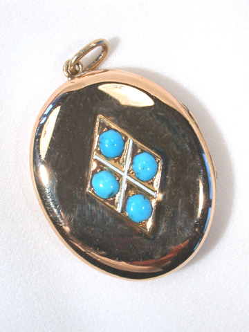 Antique Rose Gold & Turquoise Locket