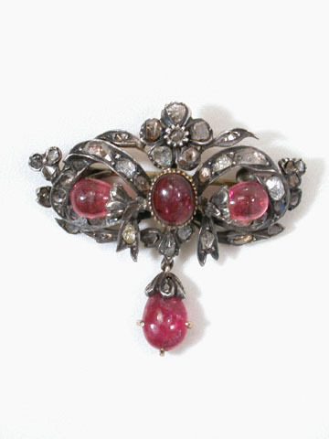 Georgian Garnet & Diamond Brooch