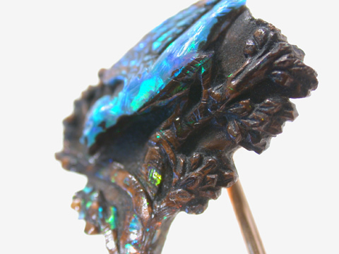 Sublime Carved Black Opal Bird Stickpin