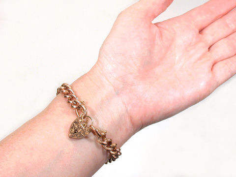 Edwardian Swirls: Rose Gold Padlock Bracelet