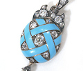 Secret Locket: Diamond & Enamel Antique Pendant