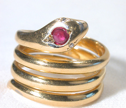 Antique Ruby Headed Snake Ring