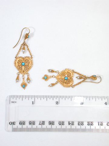 Georgian Heart Turquoise & Gold Earrings