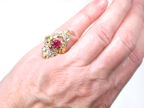 French Mastery: Ruby & Diamond Antique Ring