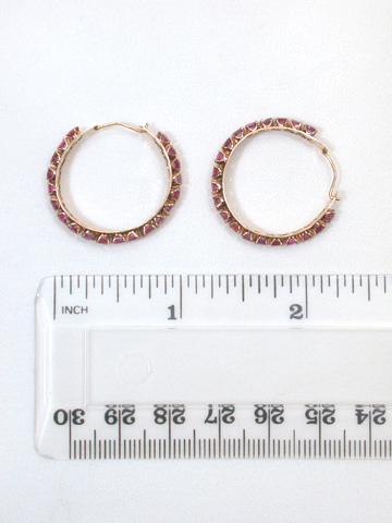 Natural Ruby Studded Hoop Earrings