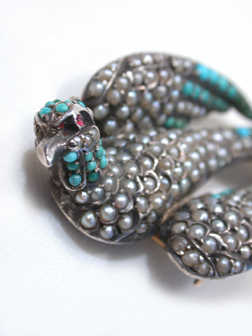 Turquoise and Pearl  Pheasant Bird Brooch