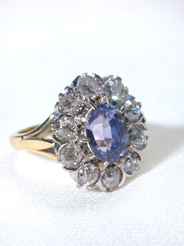 Antique Purple Sapphire & Diamond Ring