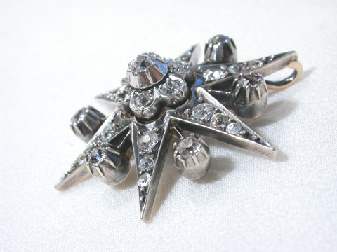Victorian Diamond Star Pendant Brooch