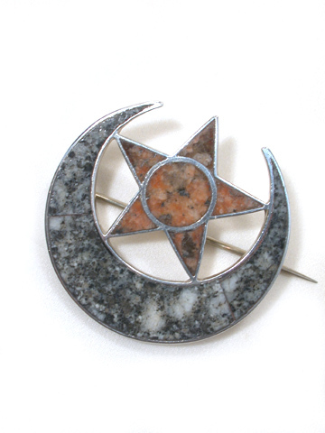 Scottish Granite Moon & Star Brooch