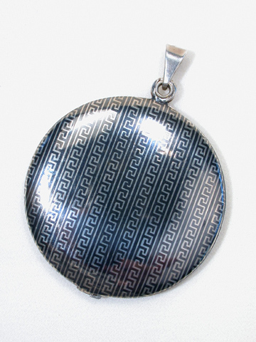 Greek Key Niello Locket Pendant