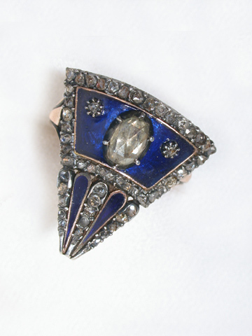 Rare Georgian Blue Enamel Diamond Ring
