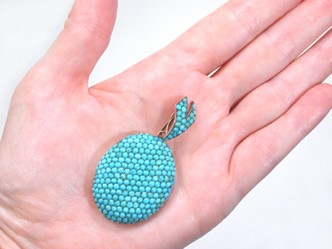 Elysian Fields of Turquoise in a Pavé Locket